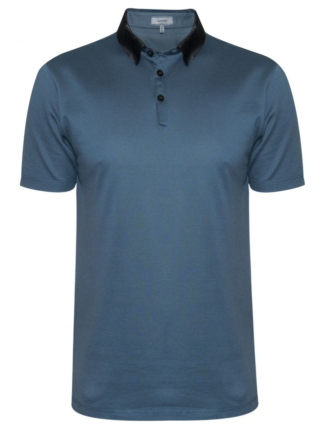 Metallic Blue Grosgrain Slim Fit Piquí© Polo Shirt