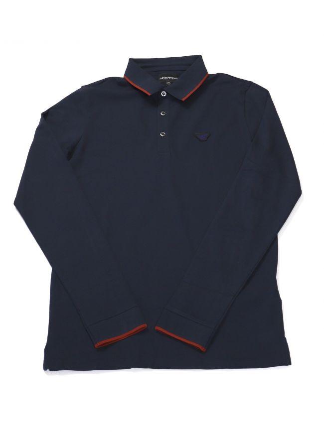 Armani Kids Long Sleeve Navy Polo Shirt