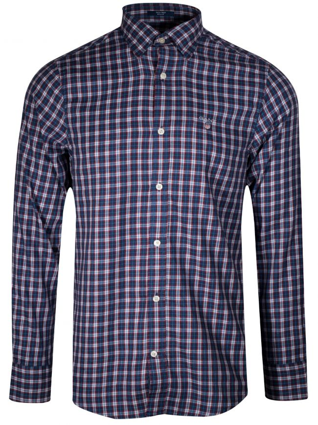College Blue Twill Check Long-Sleeve Shirt