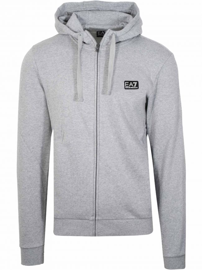 Grey Patch Logo Zipped Hooded Sweatshirt