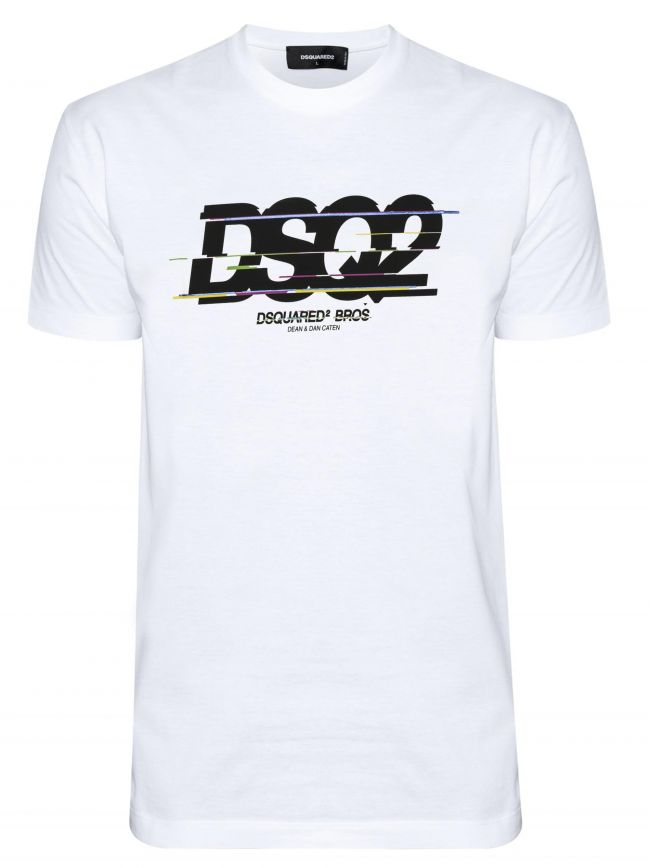 White Digital DSQ Logo Print T-Shirt