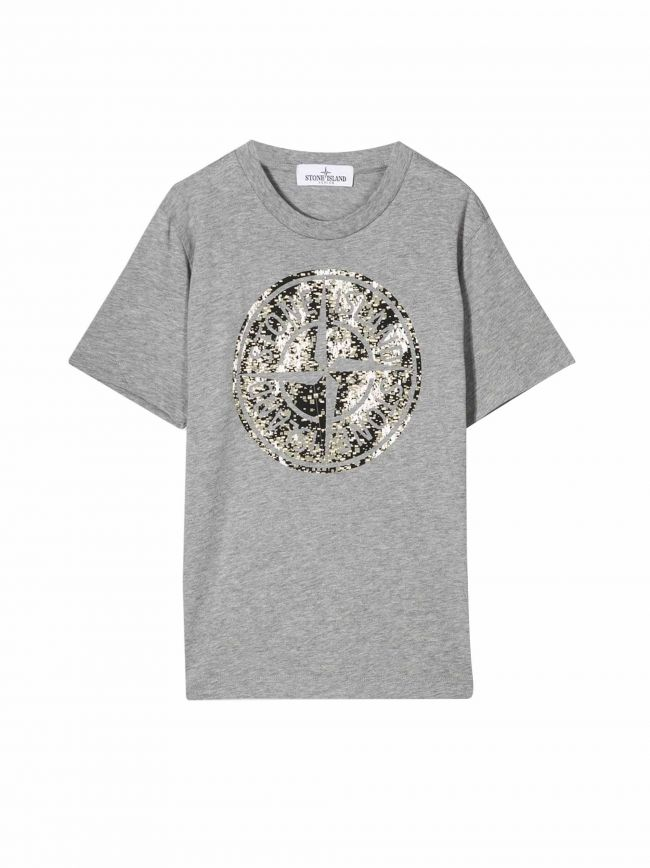 Grey Digital Camouflage Logo T-Shirt