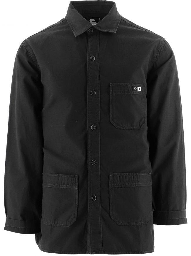 Black Long Sleeve Cotton Ripstop Overshirt