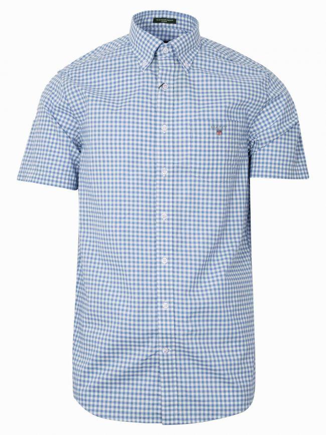 Capri Blue Check Regular Short-Sleeve Shirt
