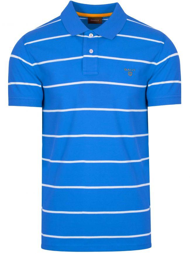 Lake Blue Striped Polo Shirt