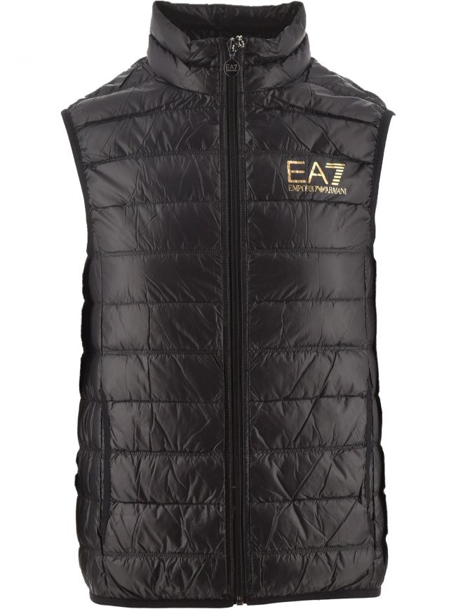 Black and Gold Down Filled Slim Fit Gilet