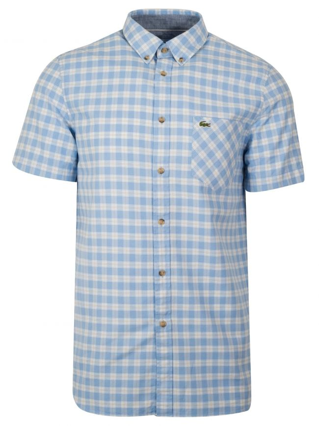 Regular Fit Blue Short-Sleeved Checked Shirt