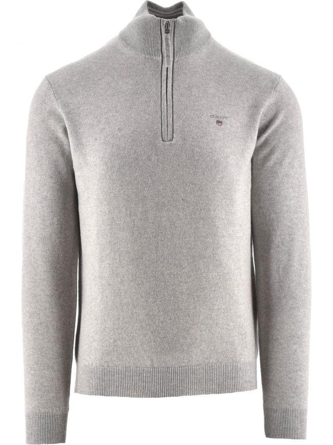 Superfine Lambswool Half Zip Light Grey Sweatshirt