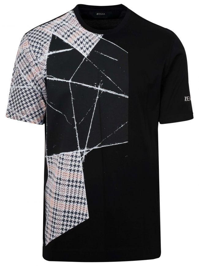 Black Checked Print Logo T-Shirt