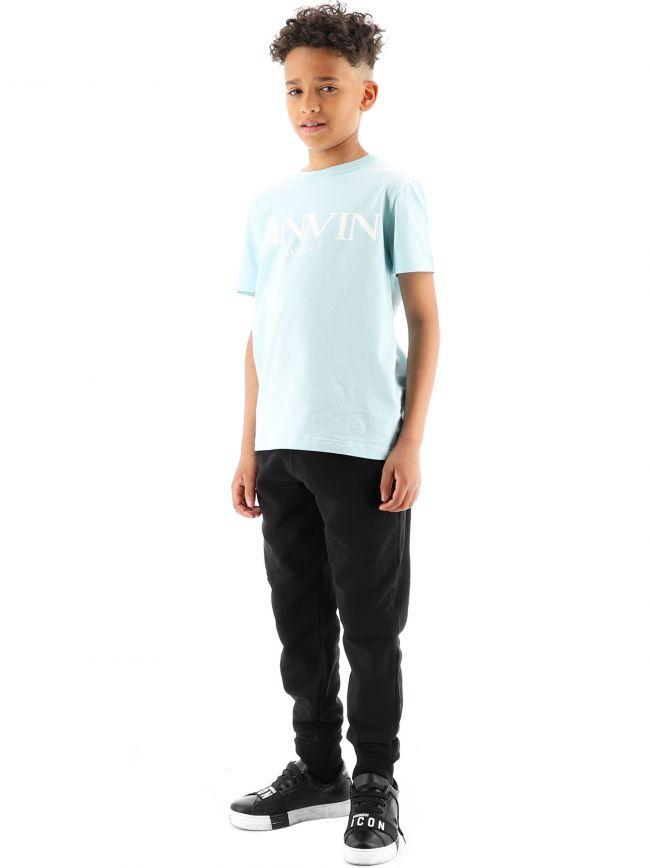 Lanvin Kids Blue Logo Cotton T-Shirt