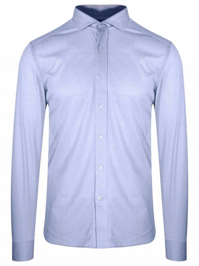 Blue Long Sleeve Spread Collar Shirt