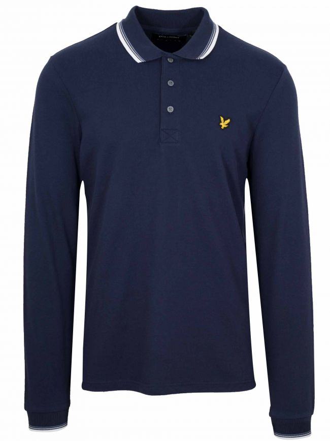 Navy Long-Sleeved Piped Polo Shirt