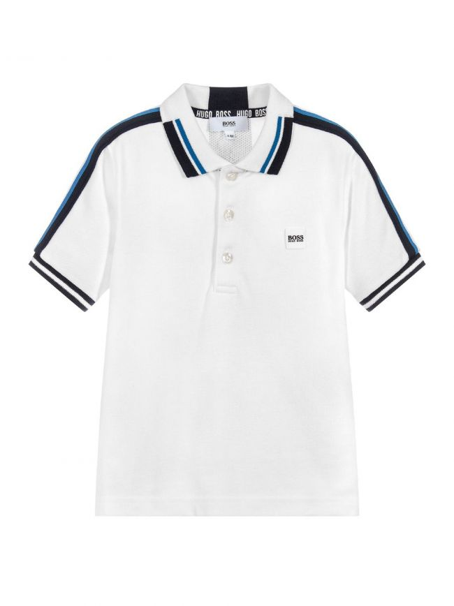 White Rubberised Logo Polo Shirt
