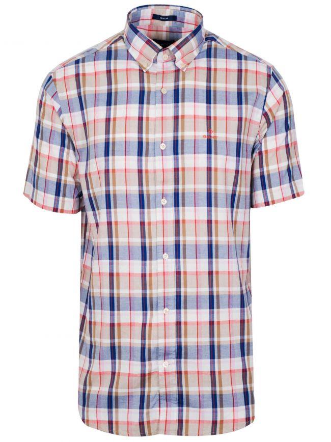 Warm Khaki Check Short-Sleeve Shirt