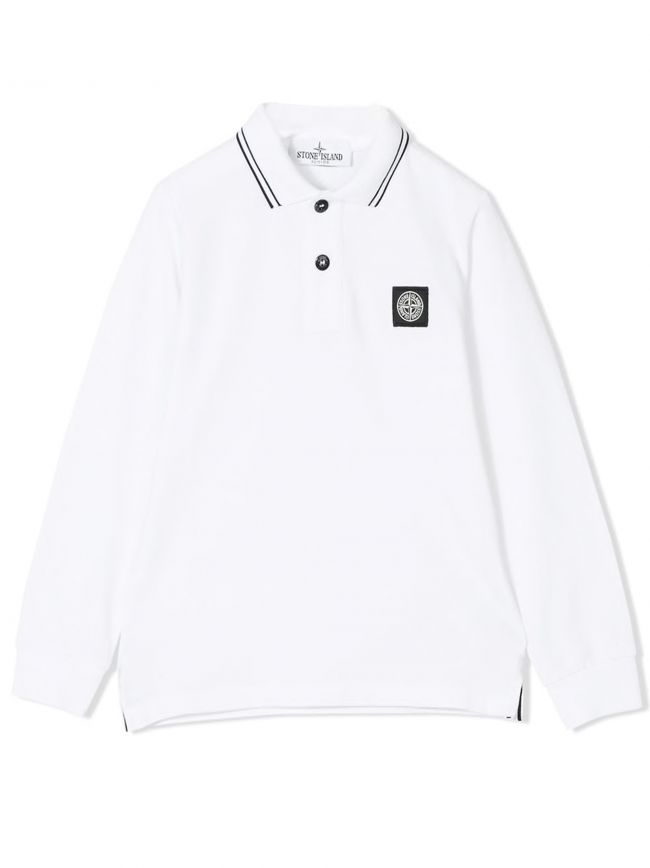 White Long-Sleeved Polo Shirt