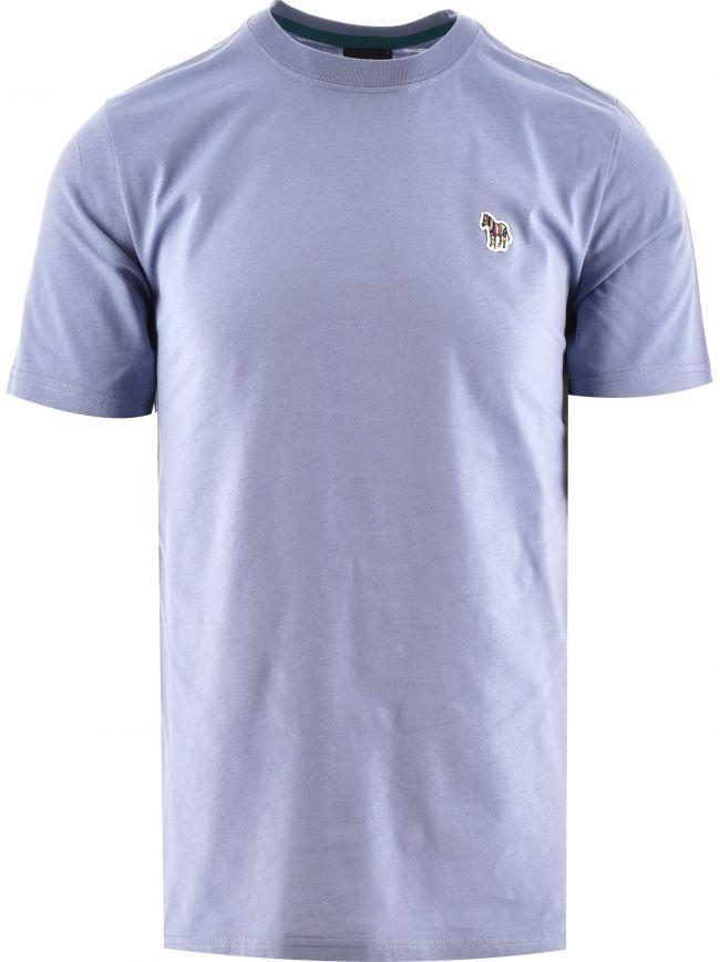 Pale Blue Regular Fit Short Sleeve Zebra T-Shirt