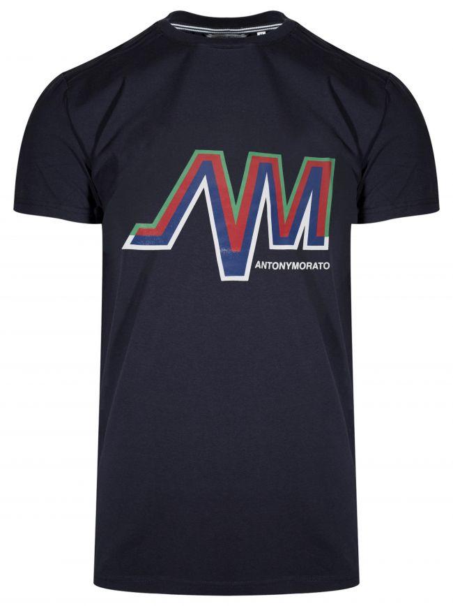 Crew Neck Navy AM Logo T-Shirt