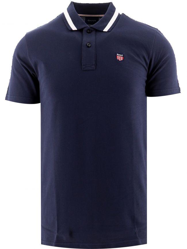 Navy Retro Shield Pique Polo Shirt