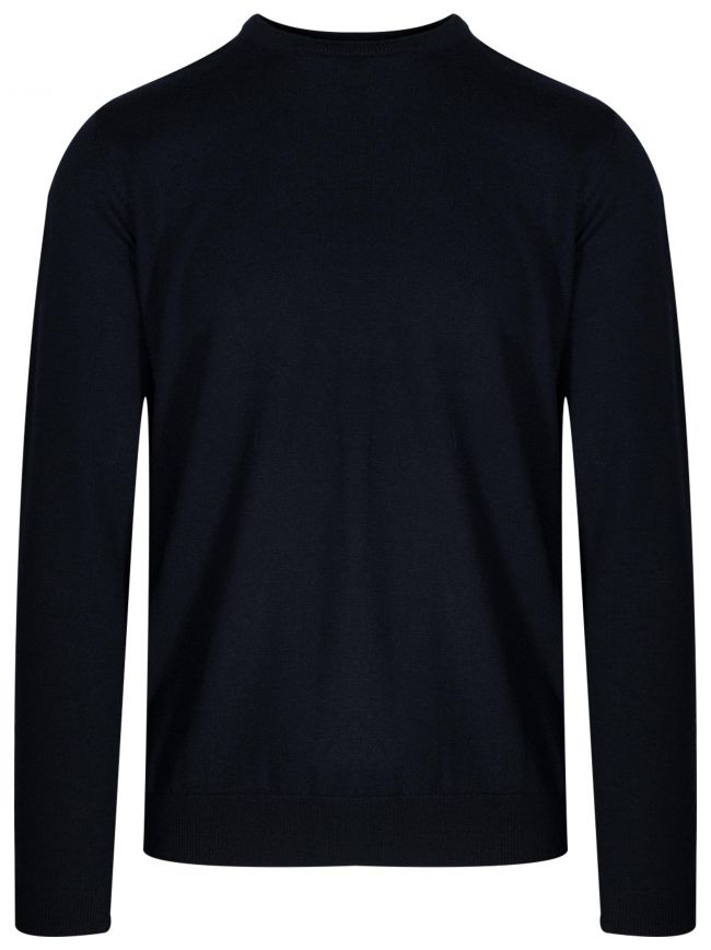 Navy Blue Knitted Wool Jumper