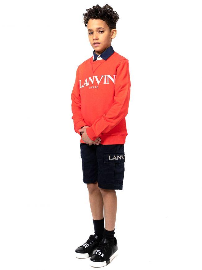 Lanvin Kids Navy Embroidered Logo Cargo Shorts