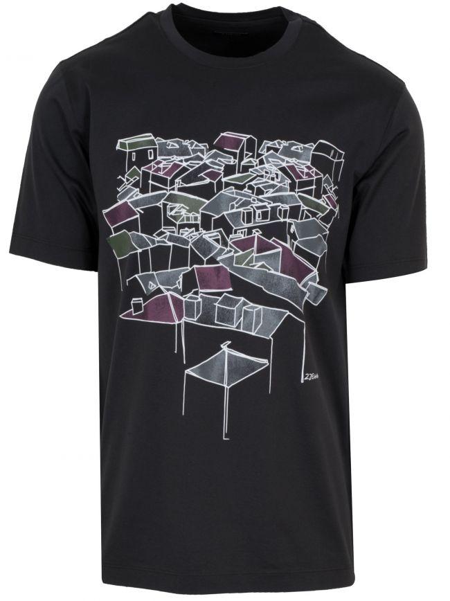 Black Roof Top Logo T-Shirt