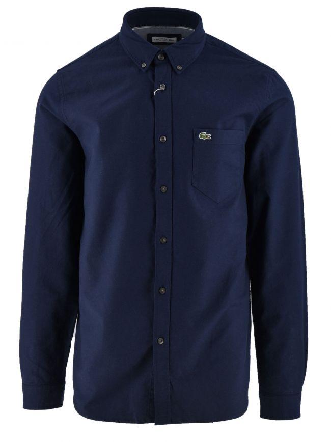 Long-Sleeved Navy Blue Oxford Shirt