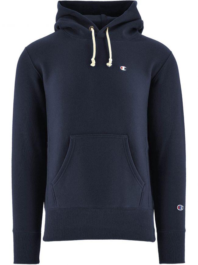 Navy Reverse Weave Hooded Sweatshirt