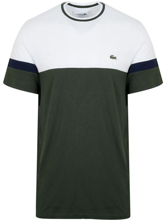 White & Olive Green Colour Block T-Shirt