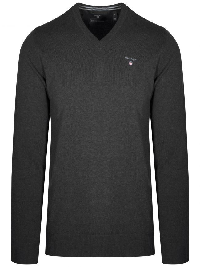 Super Fine Lambswool V-Neck Charcoal Melange Jumper