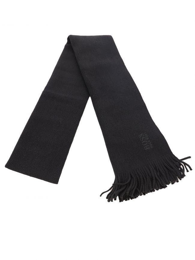 Black Tonal Logo Knitted Scarf