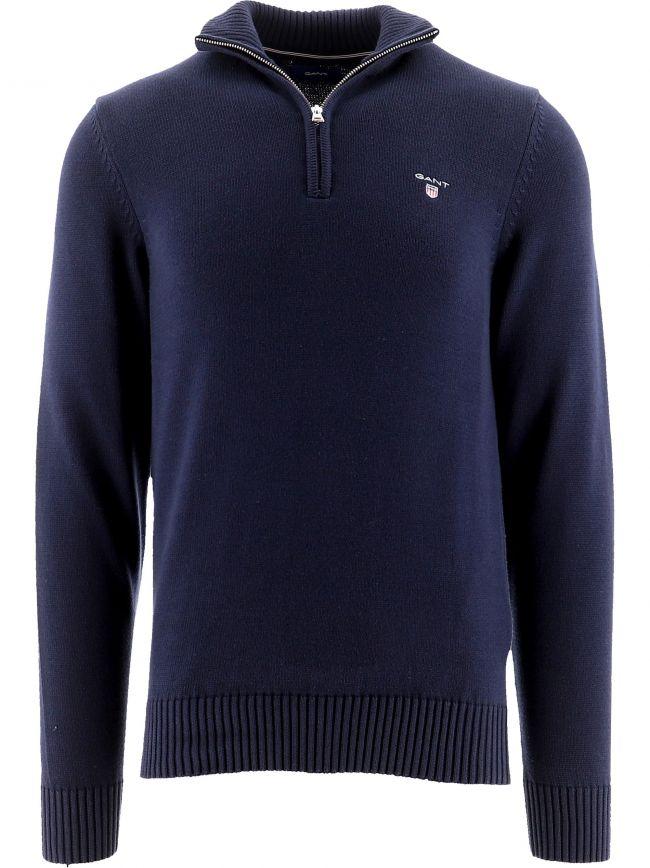 Navy Casual Cotton Half-Zip Jumper
