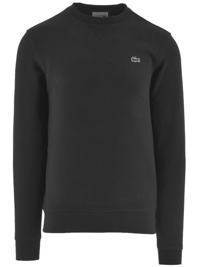 Black Cotton Blend Fleece Sweatshirt
