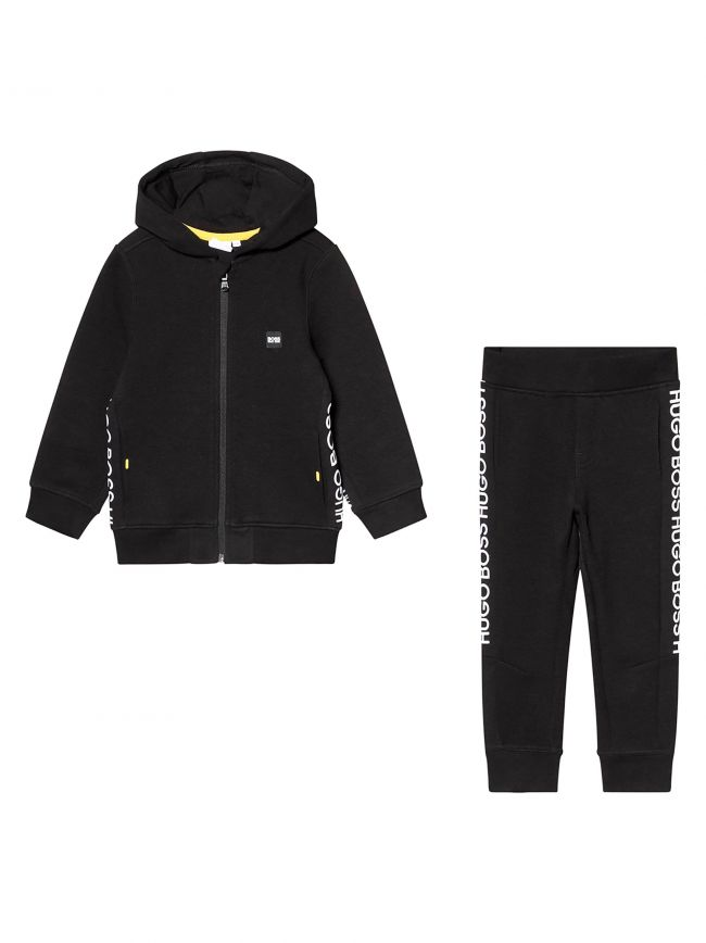 Black Pique Cotton Tracksuit
