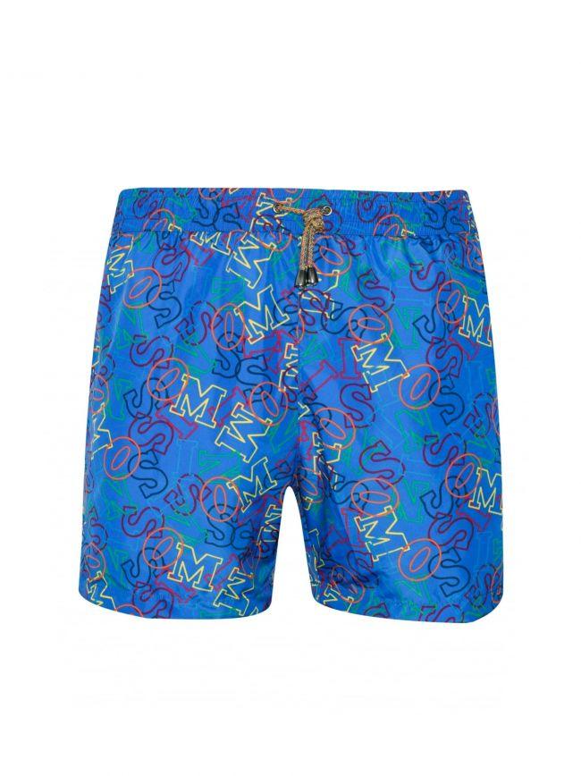Royal Blue Logo Print Swim Shorts