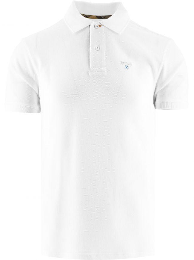 White Tartan Pique Polo Shirt