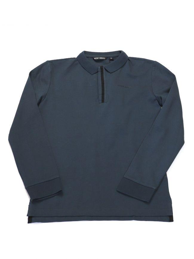Antony Morato Kids Steel Blue Logo Long Sleeve Polo Shirt