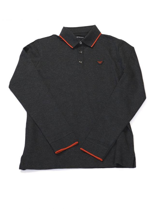 Armani Kids Long Sleeve Grey Polo Shirt