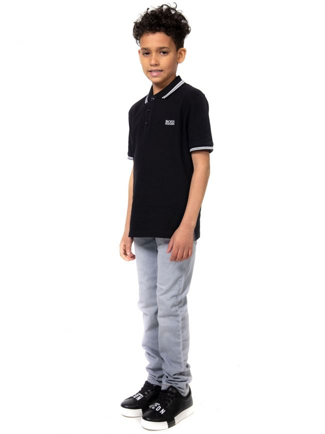 BOSS Kids Black Embroidered Logo Cotton Polo Shirt