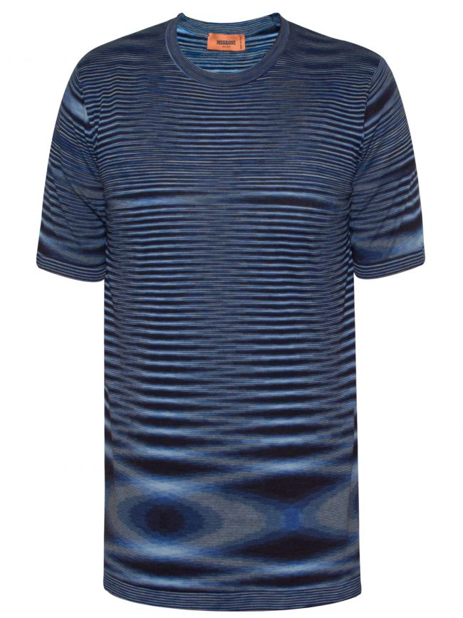 Blue Space-Dyed Stripe T-Shirt