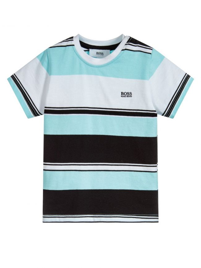 Turquoise Striped Short Sleeve T-Shirt