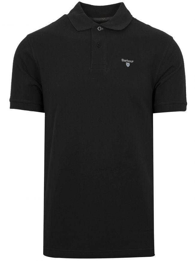 Black Modern Tartan Pique Polo