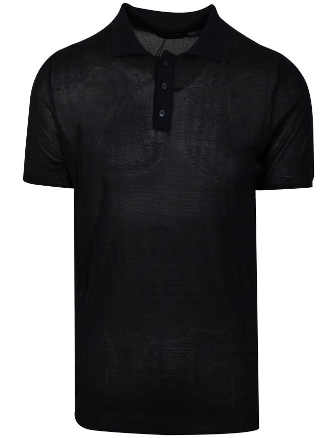 Ink Blue Knitted Polo Shirt