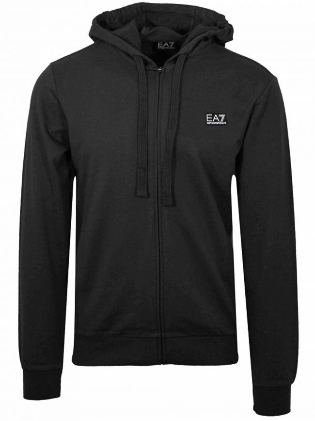 Black Patch Logo Zipped Hooded Sweatshirt