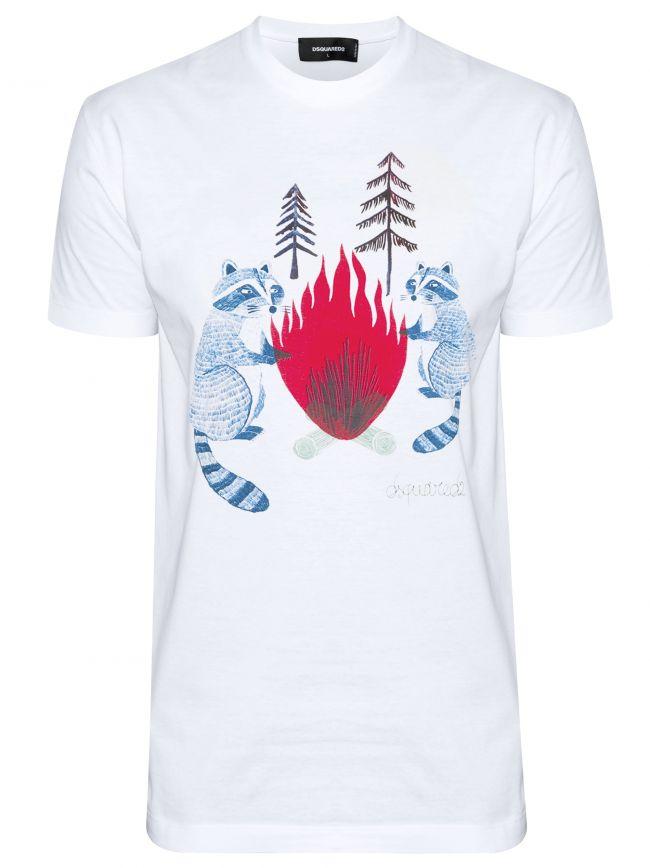 White Raccoon Print T-Shirt