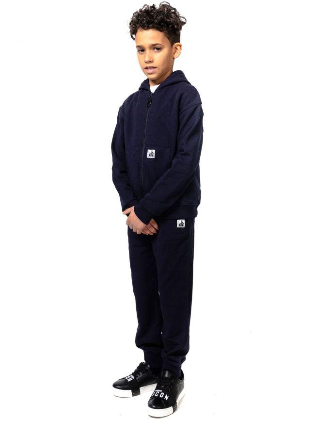 Lanvin Kids Navy Hooded Full Zip Sweatshirt