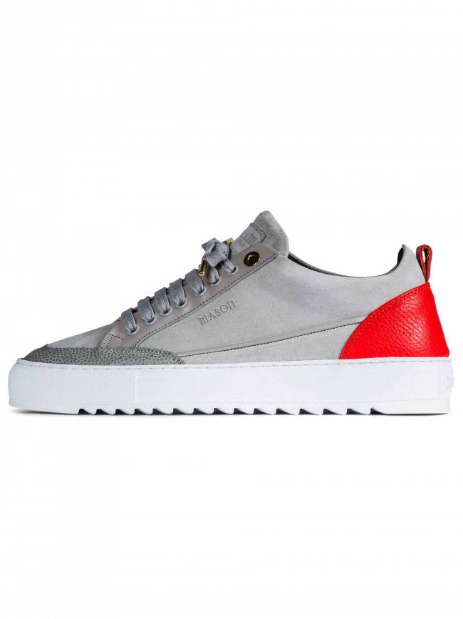 Grey & Red Suede Tia Sneaker
