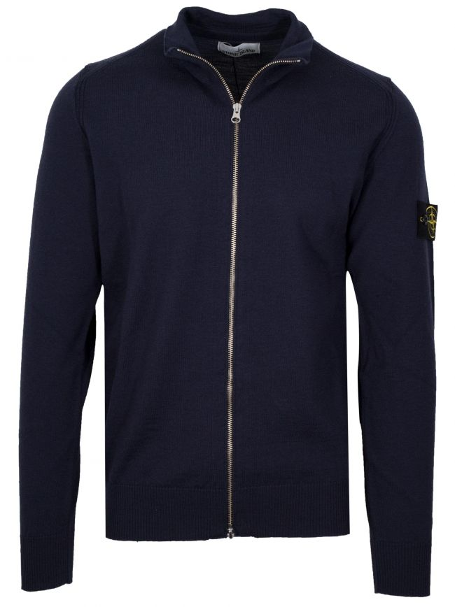 Navy Wool Zip Top