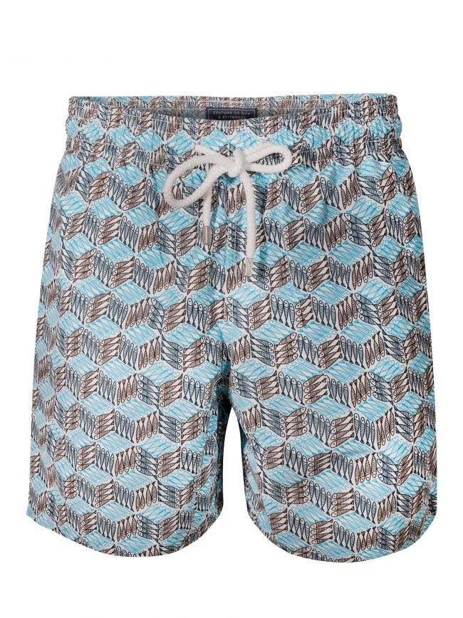Moorea Azur Diagonal Fish Swim Shorts