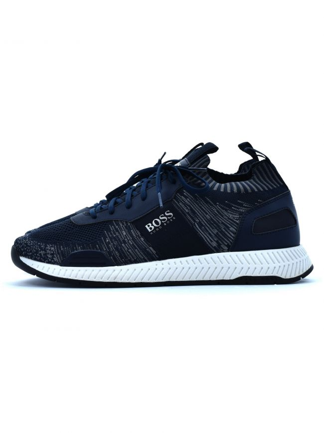 Navy Titanium Runn Knitted Trainer