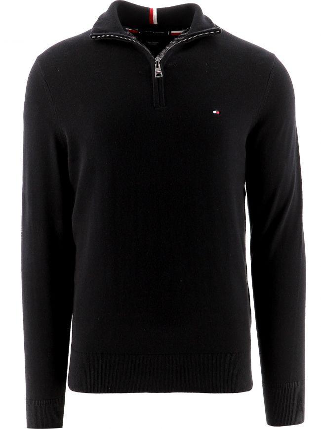 Black Pima Cotton Cashmere Half-Zip Jumper